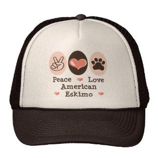 Peace Love American Eskimo Cap Trucker Hat