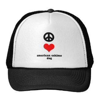 peace love american eskimo dog mesh hat