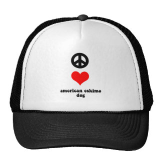 peace love american eskimo dog trucker hat