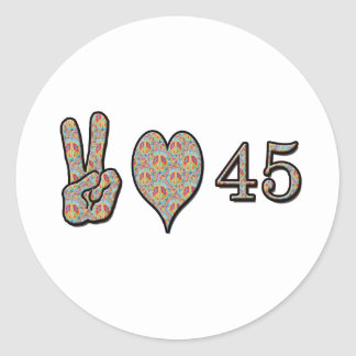 Peace Love and 45 Round Sticker
