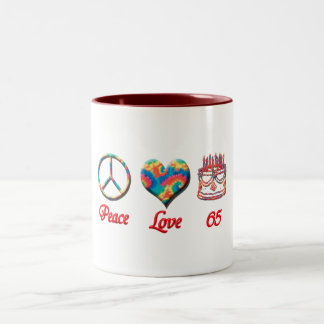 Peace Love and 65 Two-Tone Mug