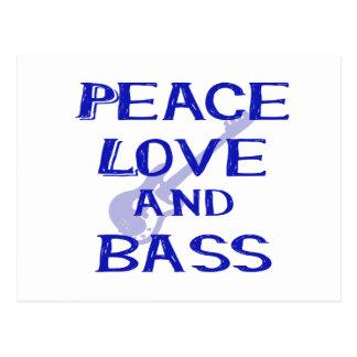 peace love and bass bernice blue w guitar post cards