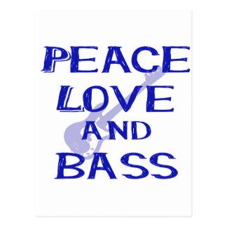 peace love and bass bernice blue w guitar postcard