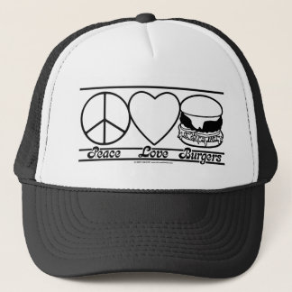 Peace Love and Burgers Trucker Hat