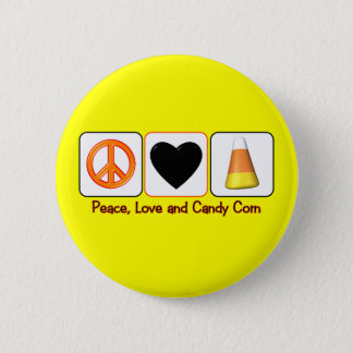Peace, Love and Candy Corn 2 Inch Round Button