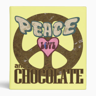 Peace Love and Chocolate Vinyl Binders