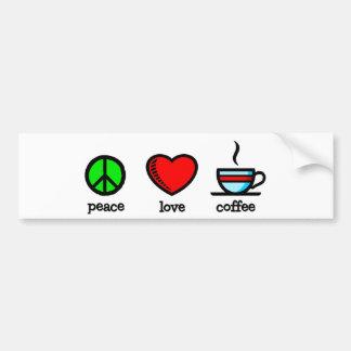 Peace, Love and Coffee - Bumper Sticker