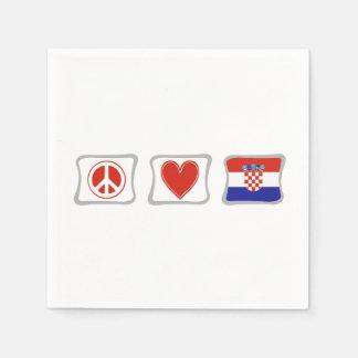 Peace Love and Croatia Squares Disposable Napkins