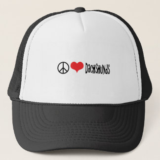 peace love and dachshunds trucker hat