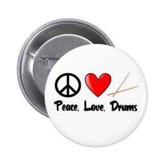 Peace, Love, and Drums 2 Inch Round Button