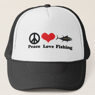 Peace love and fishing trucker hat