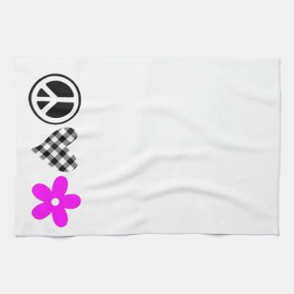Peace Love and Flowers Kitchen Towel