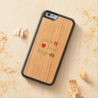 Peace Love and Frogs Carved Cherry iPhone 6 Bumper Case