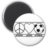 Peace Love and Futbol 2 Inch Round Magnet