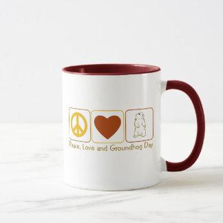Peace, Love and Groundhog Day Mug