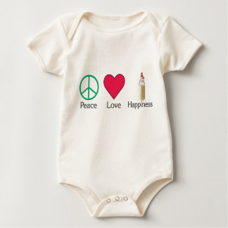 Peace Love and Happiness - baby Baby Bodysuit