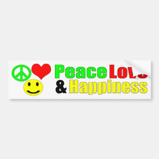 peace love and happiness bumpersticker bumper sticker