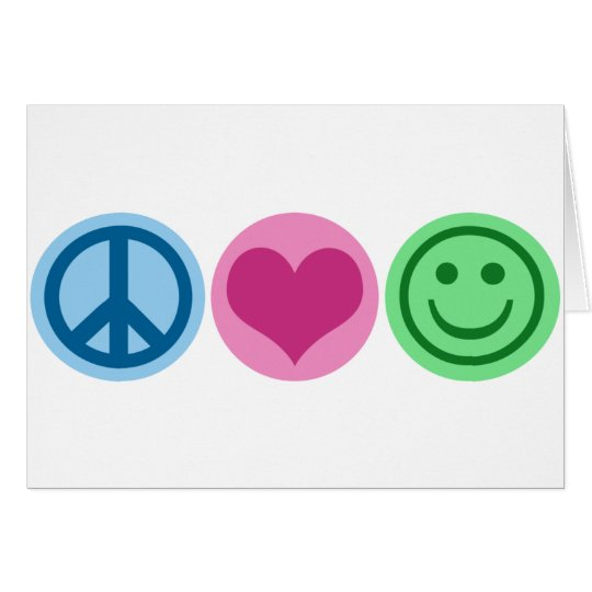 Peace Love and Happiness Card
