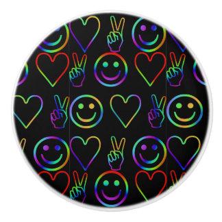 PEACE , LOVE  AND HAPPINESS CERAMIC KNOB
