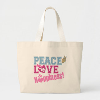Peace Love and Happiness Large Tote Bag