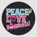Peace Love and Happiness Round Sticker