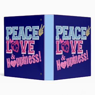 Peace Love and Happiness Vinyl Binder