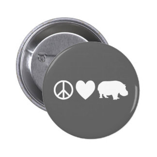 Peace Love and Hippos Pinback Buttons