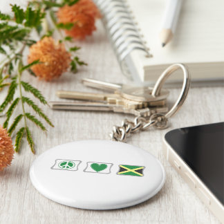 Peace Love and Jamaica Squares Keychain