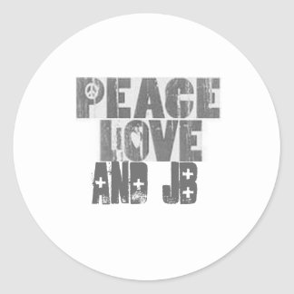 peace_love, and jB Classic Round Sticker