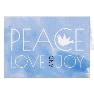 Peace love and joy blue watercolor Christmas photo Card