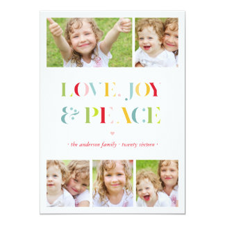 """Peace, Love and Joy Collage Holiday Photo Card 5"""" X 7"""" Invitation Card"""