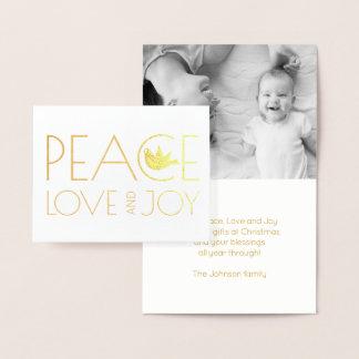 Peace love and Joy dove Christmas photo gold Foil Card
