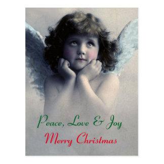 Peace, love and joy. Vintage Christmas angel Postcard