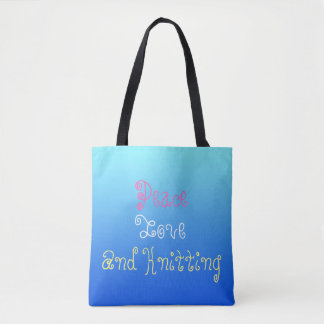 Peace Love And knitting - personalised Tote Bag