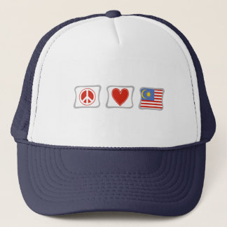 Peace Love and Malaysia Squares Trucker Hat