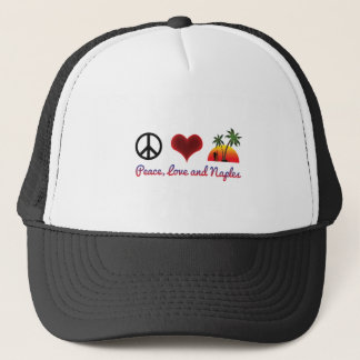 peace love and naples trucker hat