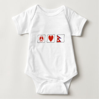 Peace Love and Nepal Squares Baby Bodysuit