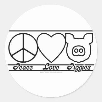 Peace Love and Piggies Classic Round Sticker