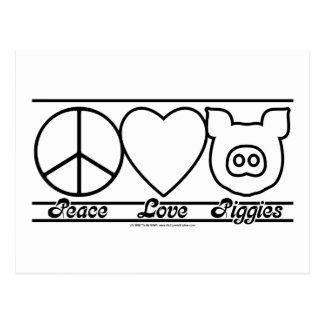 Peace Love and Piggies Postcard