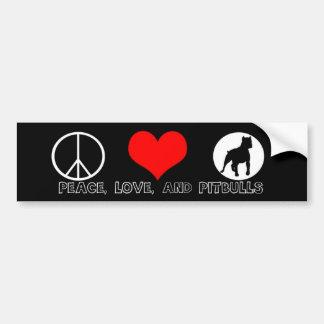 Peace Love and Pitbulls Bumper Sticker Red Heart