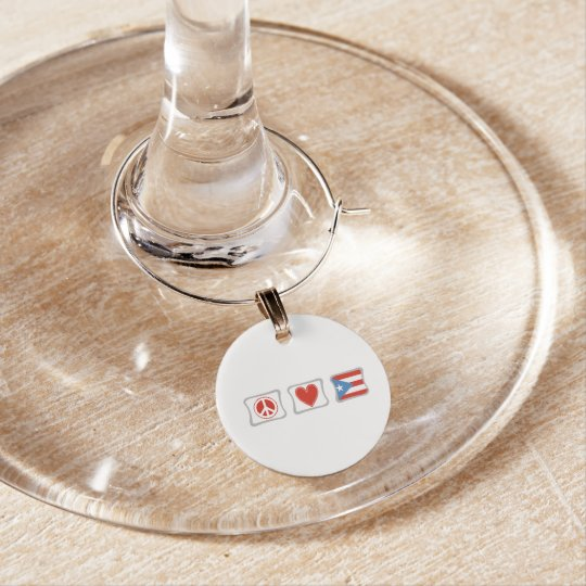 Peace Love and Puerto Rico Squares Wine Glass Charms