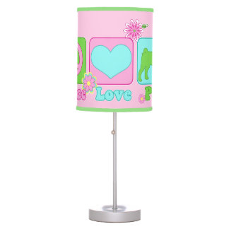 Peace Love and Pug Table Lamp