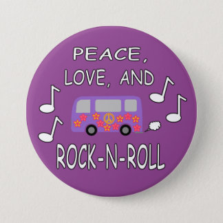 Peace Love and Rock-N-Roll Bus 3 Inch Round Button