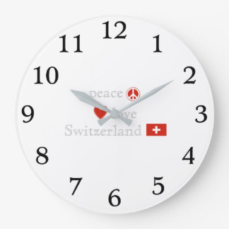 Peace Love and Switzerland Large Clock