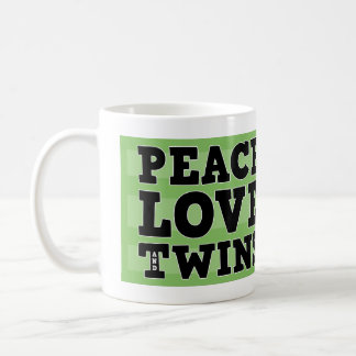 Peace Love and Twins Classic White Coffee Mug