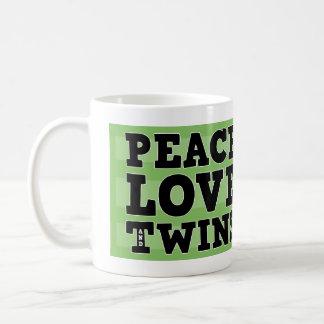 Peace Love and Twins Classic White Coffee Mug