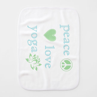 Peace Love and Yoga Burp Cloth