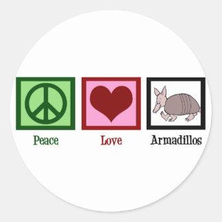 Peace Love Armadillos Classic Round Sticker