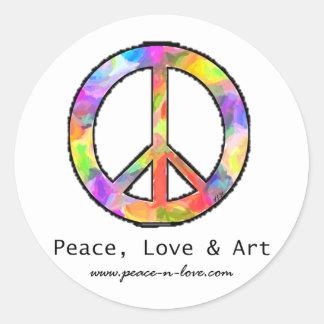 Peace, Love & Art Round Sticker