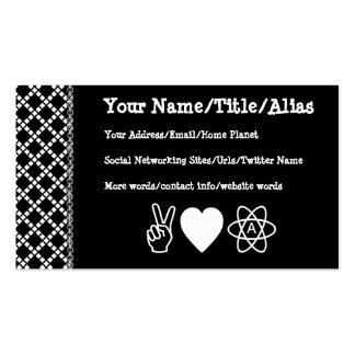 Peace Love Atheism Pack Of Standard Business Cards